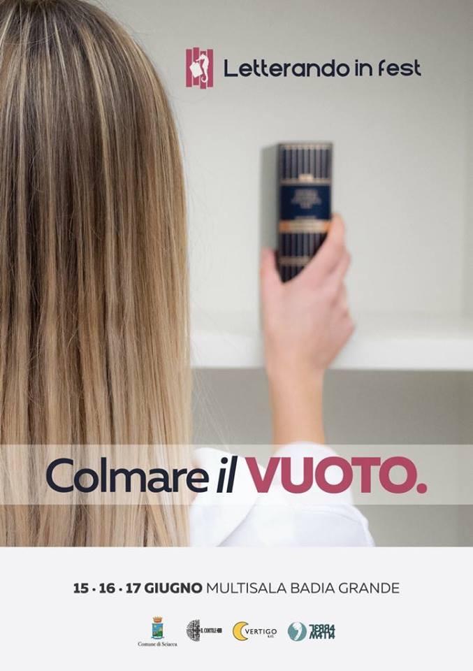 """Dal 15 al 17 giugno a Sciacca, nona edizione di """"Letterando in fest 2018 - #colmareilvuoto""""."""