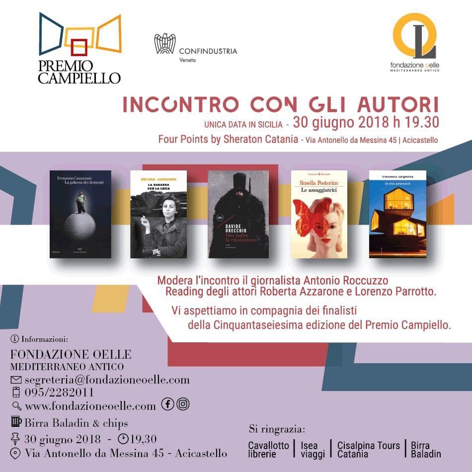 Premio Campiello - Sabato 30 in Sicilia i cinque finalisti per il Campiello Tour
