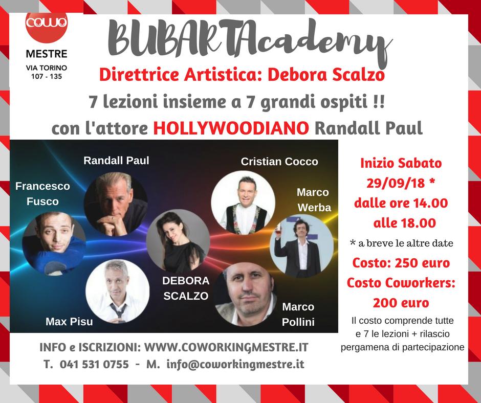 Debora Scalzo inaugura la BubartAcademy - Nomi eccellenti del panorama artistico internazionale dal 29 .9.18 a Mestre