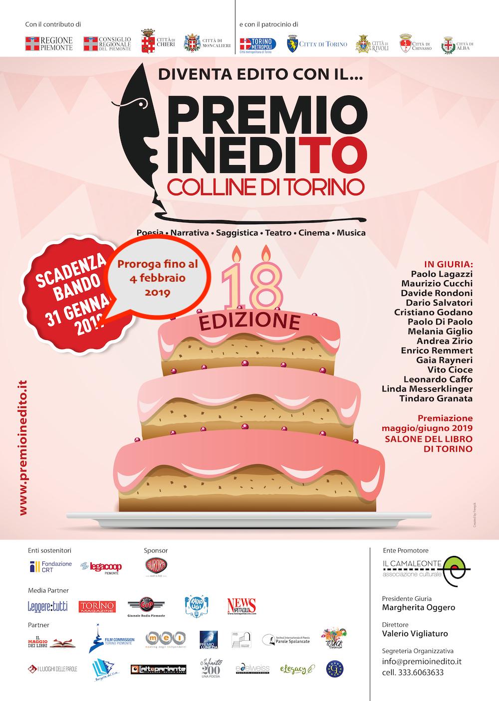 Premio inediTO-Colline di Torino proroga scadenza al 4 febbraio 2019